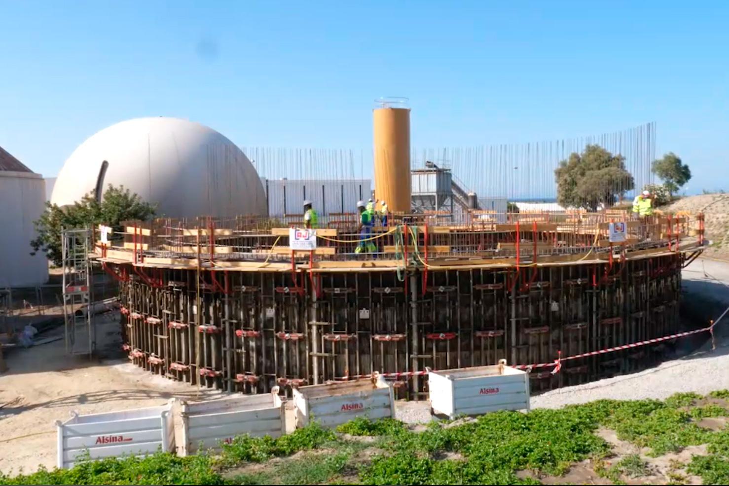 Obras del proyecto de nuevo digestor de la edar de El Bobar. Almería